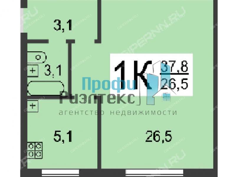 однокомнатная квартира на улице Маршала Голованова дом 9