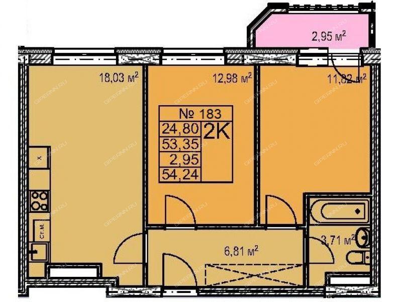 двухкомнатная квартира в новостройке на в границах улиц Страж Революции, Гвардейцев, 50-ти летия Победы, Евгения Никонова, дом 18