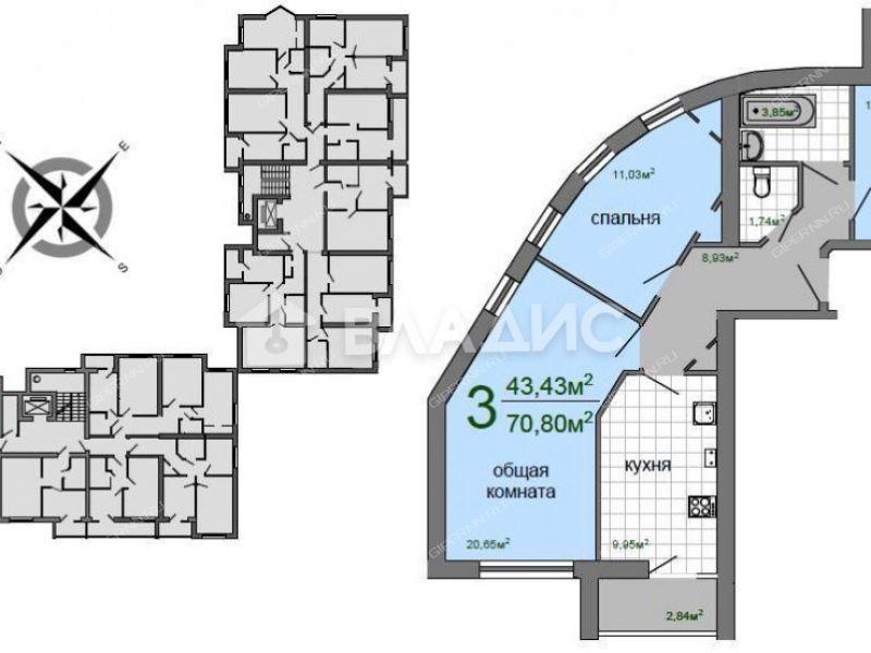 трёхкомнатная квартира в новостройке на Береговой улице город Кстово